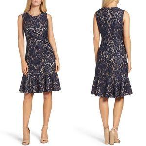 Eliza J Floral Lace Midi Dress Size 14 Ruffle Hem